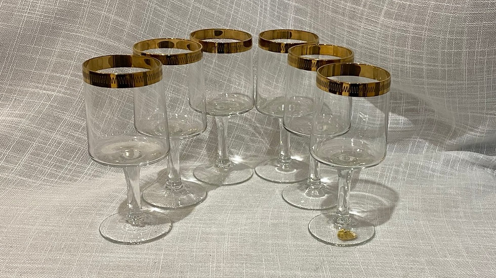 Retro Petite Wine or Sherry Glasses - set of 6