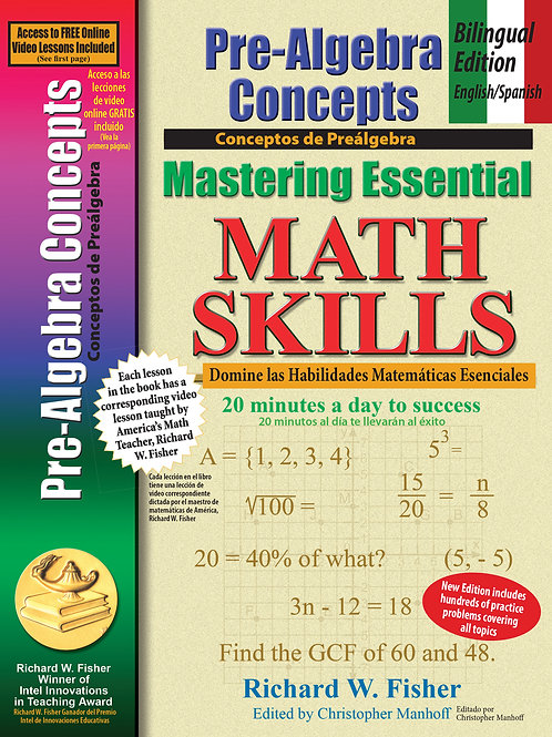 Mastering Essential Math Skills Pre-Algebra Bilingual Edition  English/Spanish