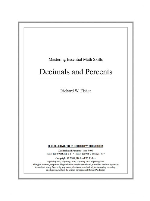 Decimals and Percents Digital Download
