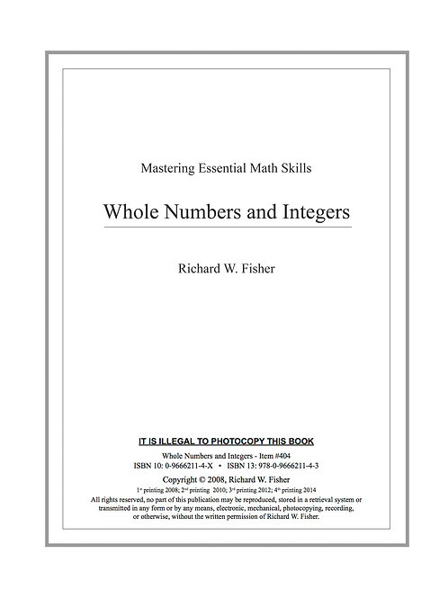 Whole Numbers and Integers Digital Download