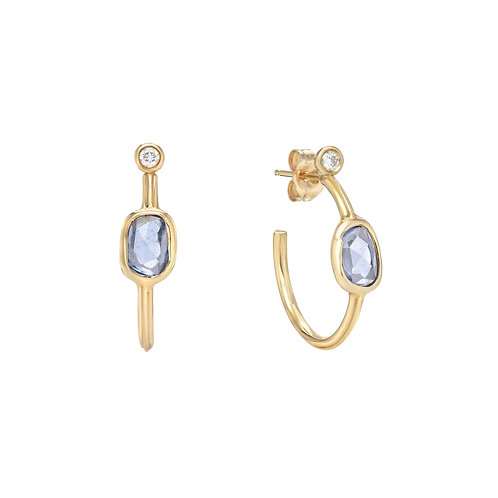 14k gold hoops with blue sapphires and diamonds