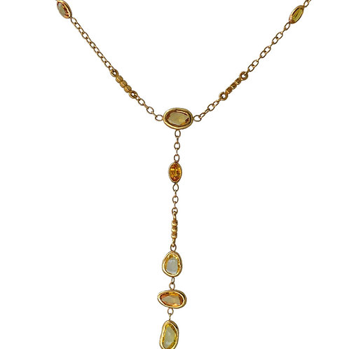 Gold Y Necklace with Yellow Sapphire Slices