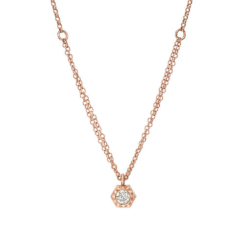 14k rose gold necklace with diamond pendant