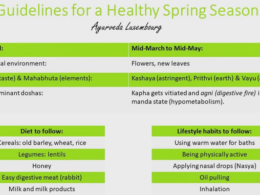 Guidelines for a healthy spring season