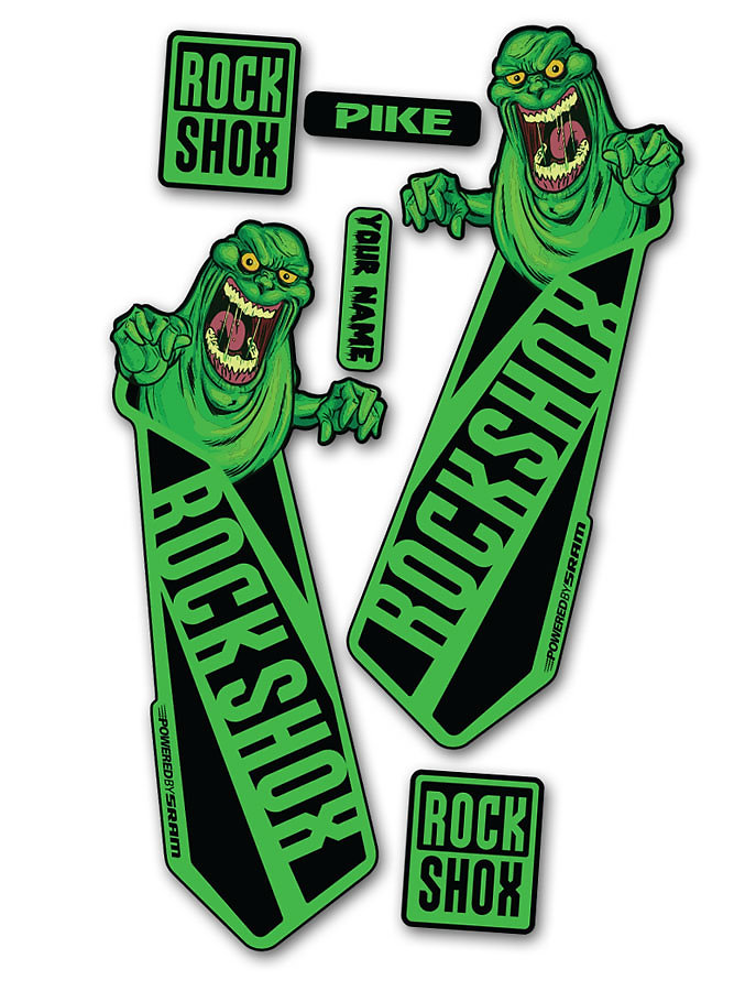 Slimer edition 2015 rockshox pike fork decals with colour variations brand names can be added by request simply state the brand name in the notes along