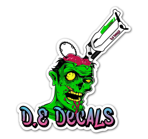 Dedecals zombie sticker available in 5 sizes 60mm x 68mm 70mm x 76mm 80mm x 88mm 90mm x 98mm 100mm x 110mm sticker is printed onto high quality metamark