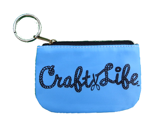 Blue Coin Purse with Key Ring
