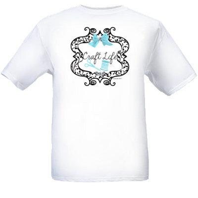 Adult White Craft Life Blue Design Logo T-Shirt