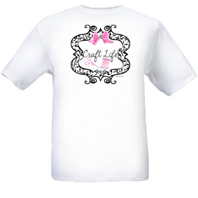 Child White Craft Life Pink Design Logo T-Shirt