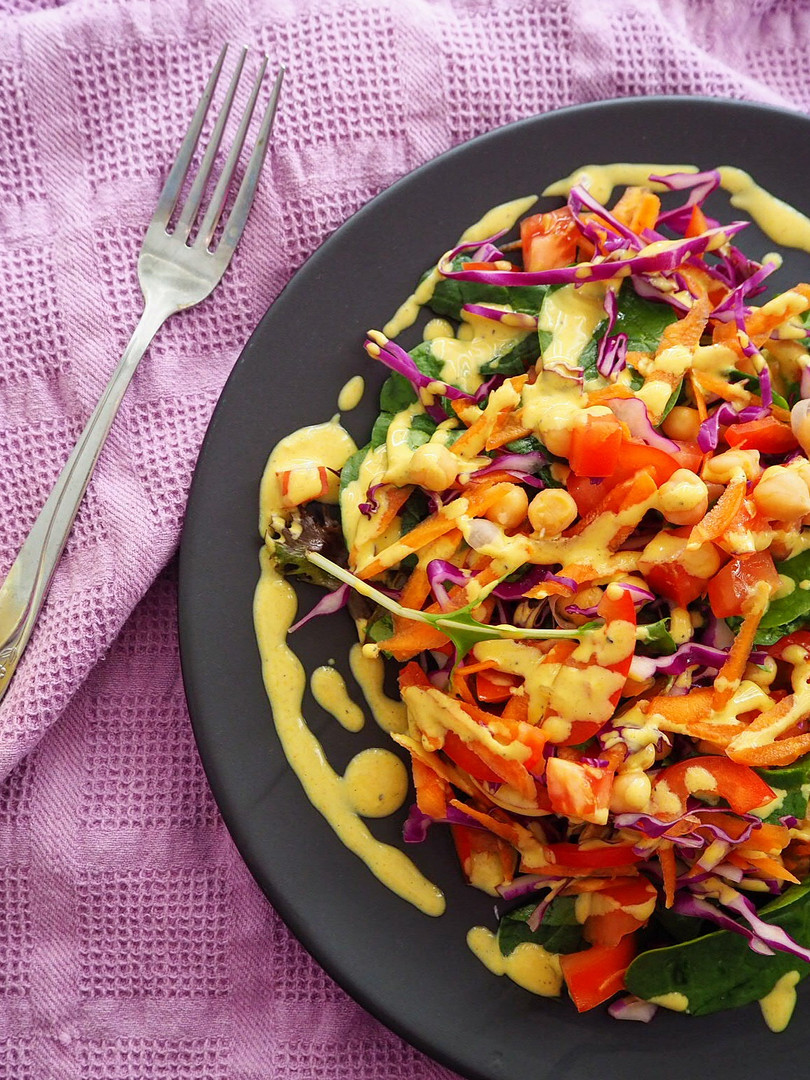 Rainbow salad with golden drizzle.jpg