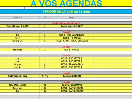 Agenda semaine 17 au 23 août