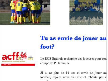 Section féminine: envie de jouer au foot ?