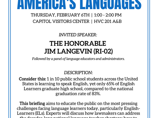 """""""Advocating for America's Languages"""" 2020 Capitol Hill Policy Briefing"""