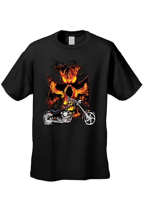Men's/Unisex T Shirt Motorcycle Flame Skull Cross Short Sleeve Tee