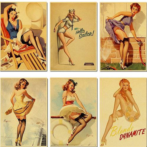 World War II Pin Up Sexy Girl High Quality
