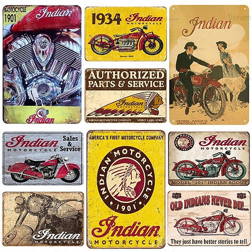 Indian Motorcycle Plaque Vintage Metal Tin Sign