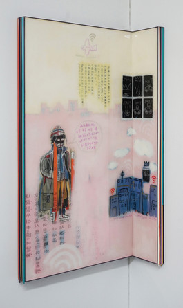 Trace of Sans-Hommage to Basquiat, 90.5x50, 90.5x14.5cm, Acrylic & resin on panel,2021 (2)
