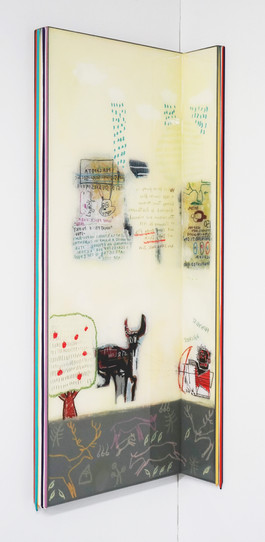 Trace of Sans-Hommage to Basquiat, 90.5x35, 90.5x10cm, Acrylic & resin on panel,2021.JPG