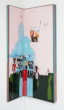 Trace of Sans-Hommage to Basquiat, 90.5x22.5, 90.5x35cm, Acrylic & resin on panel,2021.JPG