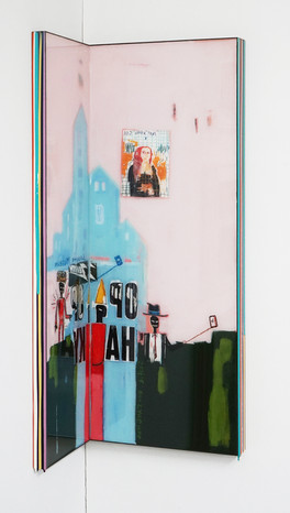 Trace of Sans-Hommage to Basquiat, 90.5x22.5, 90.5x35cm, Acrylic & resin on panel,2021 (3)