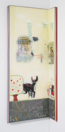 Trace of Sans-Hommage to Basquiat, 90.5x35, 90.5x10cm, Acrylic & resin on panel,2021 (3).J