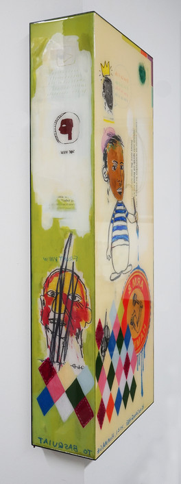 Trace of Sans-Hommage to Basquiat, 90.5x15, 90.5x35cm, Acrylic & resin on panel,2021 (2).J
