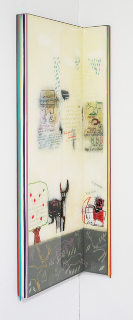 Trace of Sans-Hommage to Basquiat, 90.5x35, 90.5x10cm, Acrylic & resin on panel,2021 (4).J