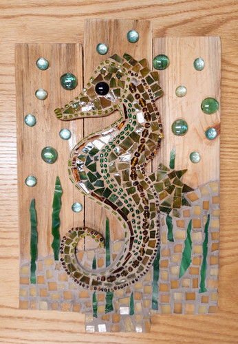 Seahorse Mosaic on Board Plaque