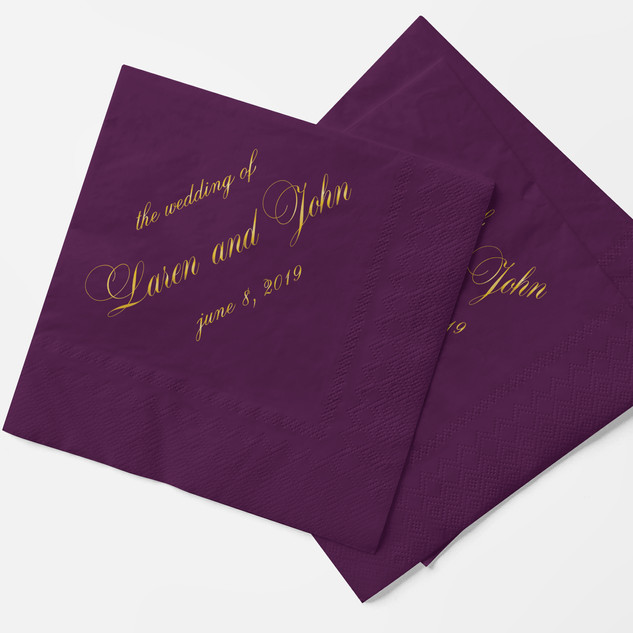 Eggplant napkin with gold foil