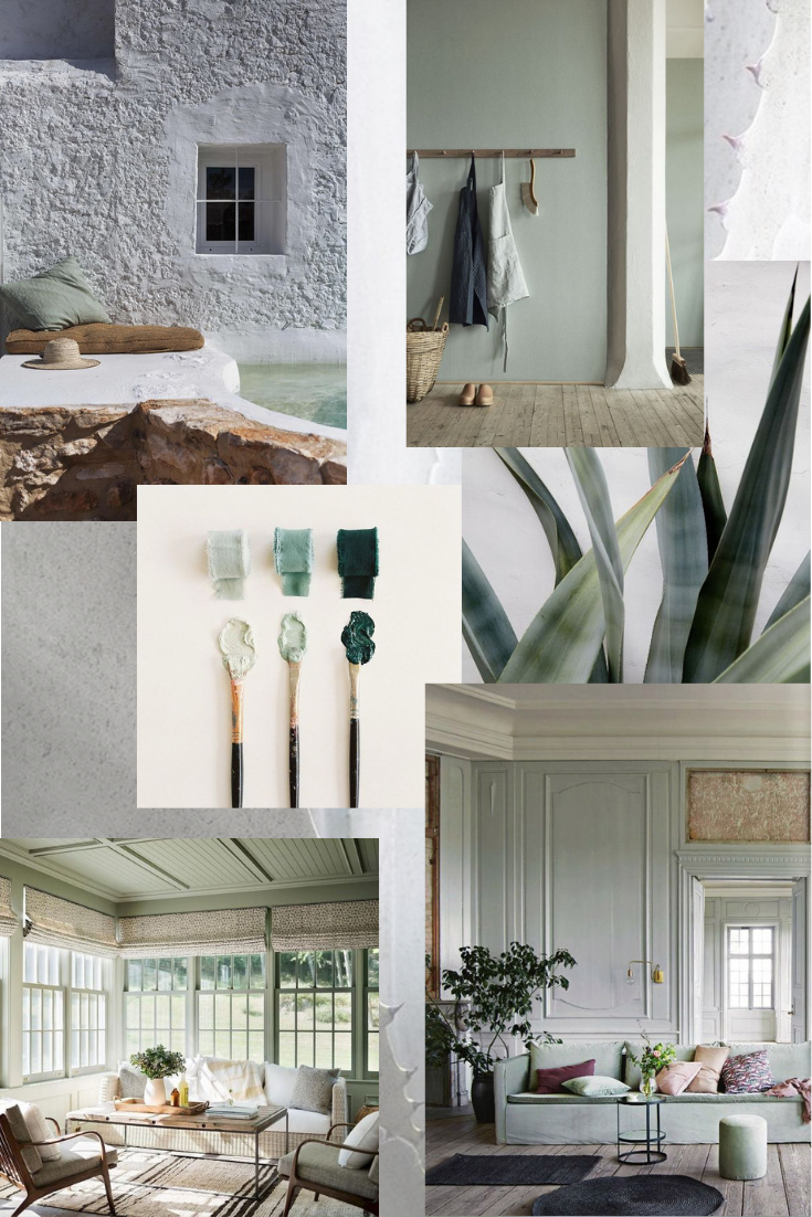 Pale green mood board