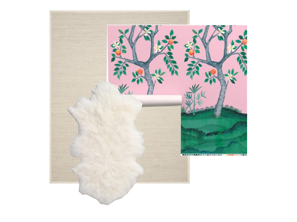 chinoiserie wallpaper jute sisal rug sheepskin