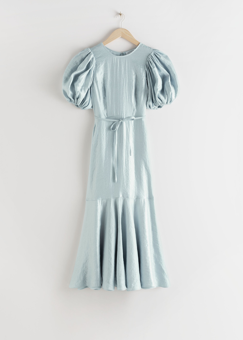 Metallic blue crepe dress