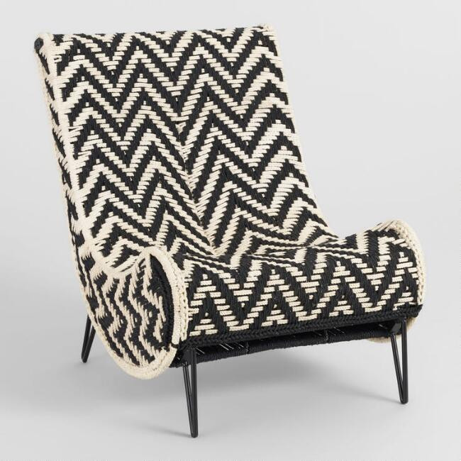 Black and white chevron accent chair