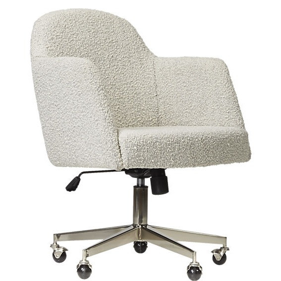 Boucle desk chair eclectic office