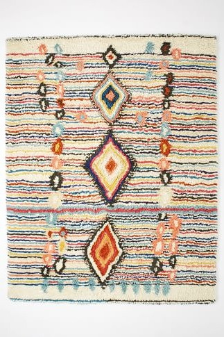 Moroccan shag rug eclectic office