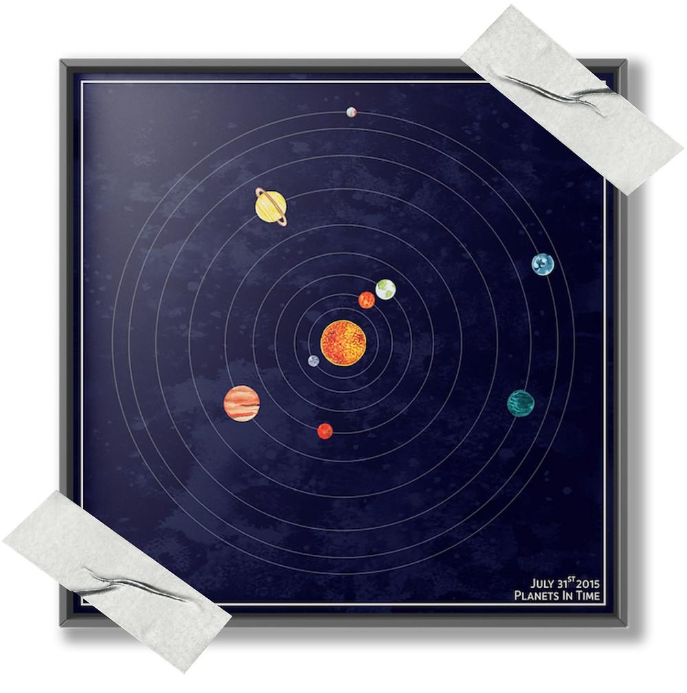 planet solar system alignment art print