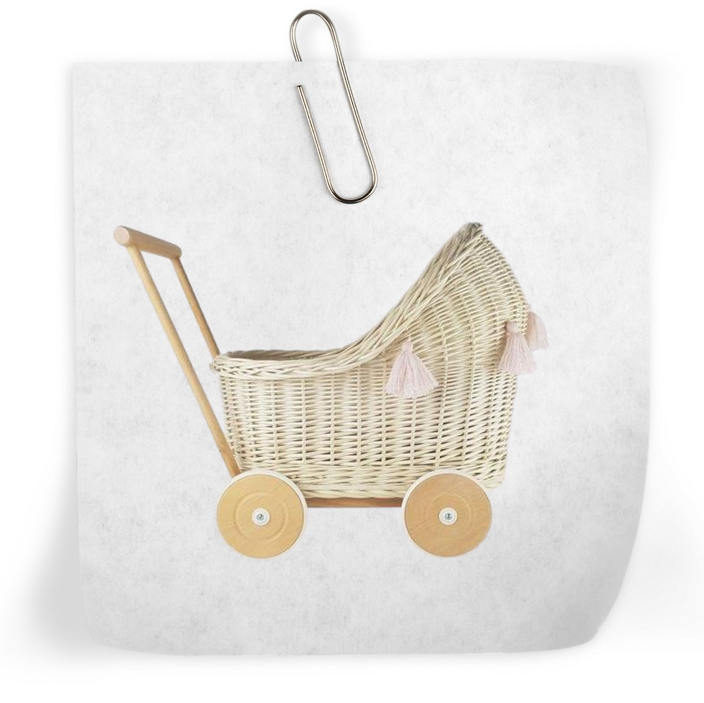 Wicker rattan doll stroller