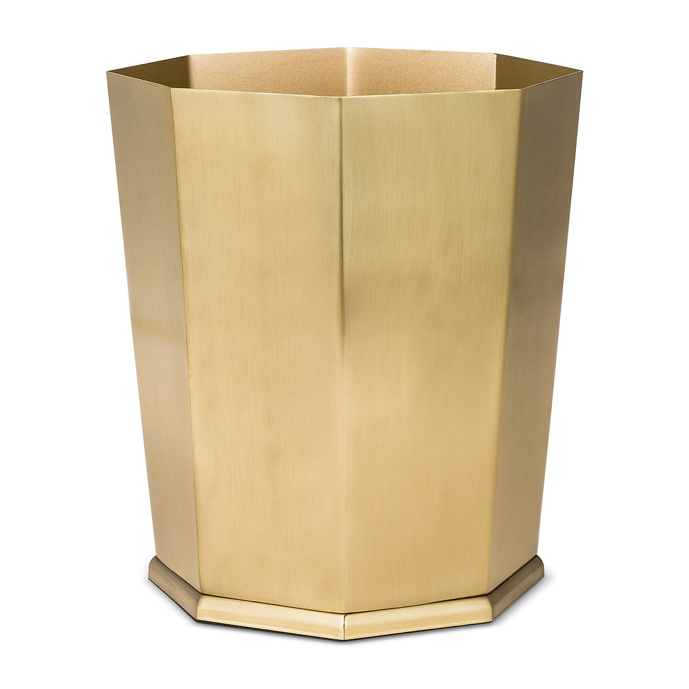Gold faceted wastebasket eclectic office