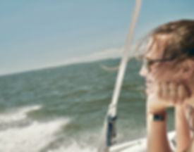 Christina in her happy place on the Chesapeake Bay