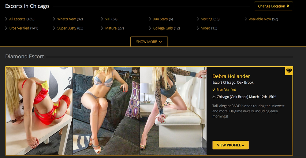 Eros website Diamond Escorts Chicago