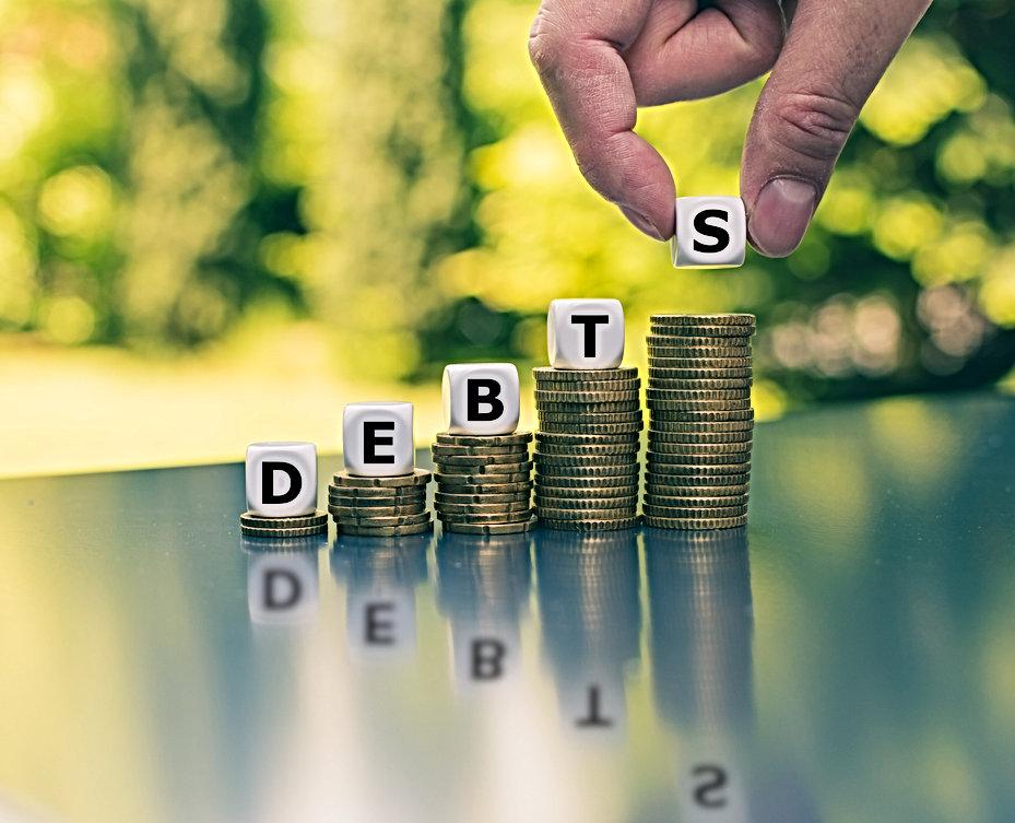 Symbol for increasing debts. Dice form t