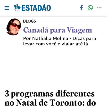 O Estado de São Paulo, Canadá para Viagem, Dec 2019