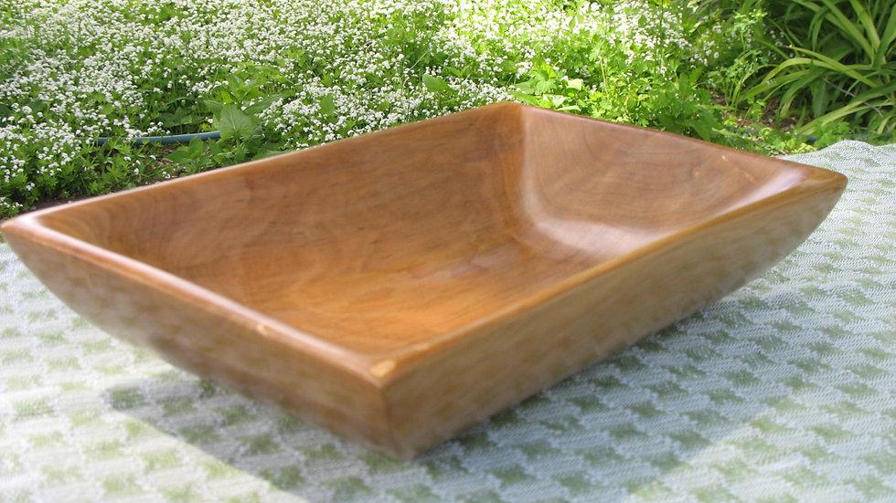 Rectangular Apple Wood Bowl, Hand-carved
