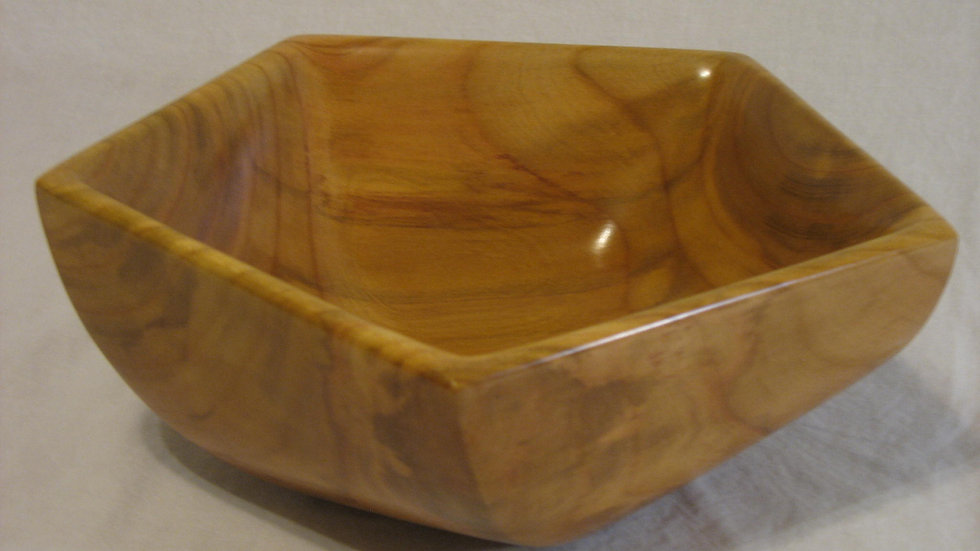 Twisted Pentagon Cherry Wood Bowl