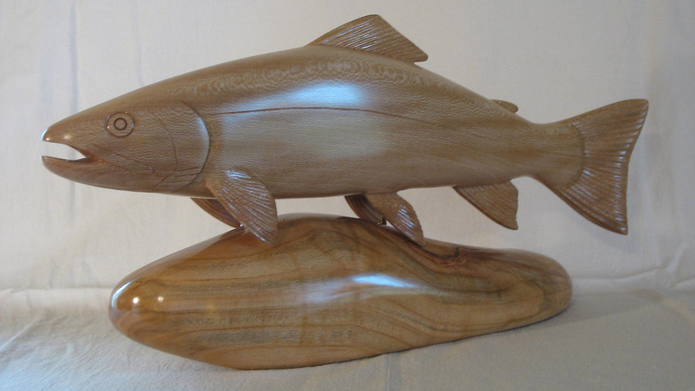 Sycamore Bull Trout on Cherry Wood Base