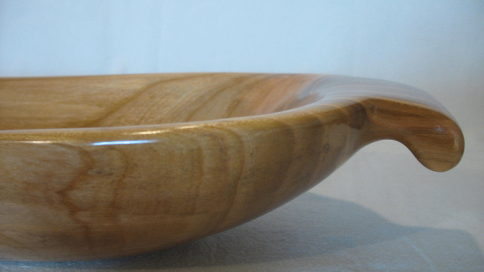 Long, Low Cherry Wood Bowl with Handles