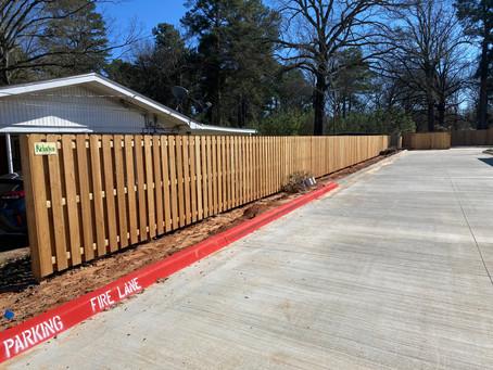 Western Red Cedar Fence for Eagle Dental in Texarkana, TX