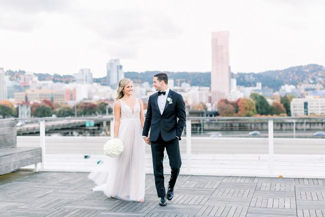 Tyler + Thea | Modern Black Tie Wedding in Downtown Portland