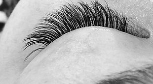 Top view of natural looking eyelash extension