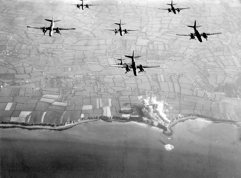 Preinvasion bombing of Pointe du Hoc.